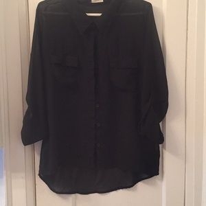 Black sheer button down shirt